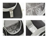 Bolso cosmético del artículo de tocador del PVC del bolso del pequeño del negro de la PU del bolso recorrido cosmético de cuero del poliester