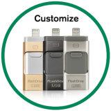 Palillo de destello de encargo OTG de la memoria de disco del USB del mecanismo impulsor para el iPhone y el androide