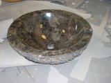 목욕탕 부엌을%s Polished 둥근 까만 대리석 돌 수채 또는 세면기