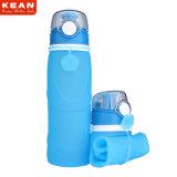 750 ml BPA liberan la botella de agua plegable flexible del recorrido del silicón
