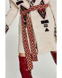 Dame-Form Intarsia Muster-Strickjacke-Mantel für Weihnachten