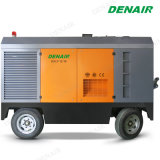 Grand type rotatoire mobile diesel compresseur de quatre roues d'air de vis