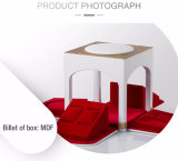 Mdf-Billet-kleines Schmucksache-Kasten-Golddrahtziehen-Korn-Leder