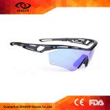 Vidros de Sun elevados UV dos homens da visão do revestimento azul do Ce de Dropshipping anti que dão um ciclo óculos de sol do esporte