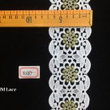 garniture large de tissu de lacet de fleur géométrique de POINT d'or de 7cm pour le textile Hme887 de vêtement