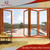 Puerta de plegamiento de aluminio de mirada de madera del perfil con el vidrio Tempered