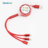 Fideos plana retráctil multifunción 3 en 1 cable micro USB