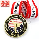 Le Pin militaire plaqué fait sur commande bon marché des Etats-Unis d'or de couvre-tapis des EAU en métal de constructeur attribue la bride de fixation de médaille d'honneur d'étoile et la bande de collet