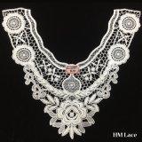 tessuto simmetrico molle del merletto degli accessori Hml8539 dell'indumento del fiore bianco del merletto della guarnizione del collare del ricamo di 36*31cm