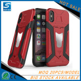 Cubierta del teléfono del caso del espacio en blanco del oso del hierro con el sostenedor del coche para el caso del iPhone X
