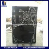 Negro de la alta calidad con las lápidas mortuorias del granito del grabado del laser