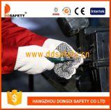 Chaîne en polyester tricoté coton naturel 4thread Points en PVC noir un gant de travail latéral Dkp408