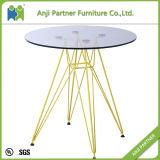 Tableau en verre de barre de table basse de base en acier de couleur du modèle moderne 4 (vallée)