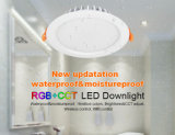 IP54는 & 목욕탕 점화에 사용된 방습 15W RGB+CCT LED Downlight 방수 처리한다