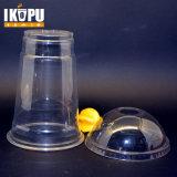 Copo de suco de plástico claro personalizado com tampa