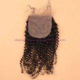 8A絹の基礎閉鎖の閉鎖が付いているねじれた巻き毛のバージンの毛との絹の基礎閉鎖のねじれた巻き毛のペルーのバージンの毛
