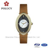 Relógios do couro dos relógios de senhoras do bracelete de relógio da forma para mulheres