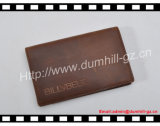 Suporte de cartão de crédito personalizado de couro genuíno com couro de cavalo louco
