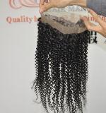 ブラジルの人間のバージンの毛22.5 x 4 x 2ゴムひもLbh 188が付いている絹のねじれた巻き毛の360のレースのFrontal