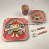Great Brand Children Dinnerware 5PCS Bamboo Fiber Baby Feeding Tableware Set Eco Plate Set para crianças