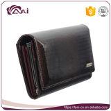 Бумажник кожи кожи темного Brown Crododile бумажника женщин неподдельной кожи изготовления 100% Fani длинний