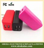 Piegandoli adattatore doppio del caricatore del telefono mobile del USB della spina con il caricatore di corsa del USB dell'uscita di 5V 2.1+1A