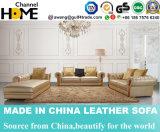 Bouton sectionnel de sofa de salle de séjour en cuir d'or luxueuse orné (HC3009)