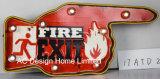 """Decoração Vintage Antique Emboss """"Design"""" de saída de incêndio da estrutura de metal e plástico Decoração de parede W/Luz de LED"""