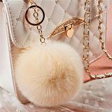 工場価格の卸売ののどのウサギの毛皮POM POM Keychain