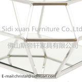 ダイヤモンドの現代居間のための明確な緩和されたガラスの側面表のクロムステンレス鋼フレームの正方形のコーヒーテーブル