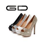 Ботинки высокой пятки пальца ноги щели платформы яркия блеска женщин Gdshoe