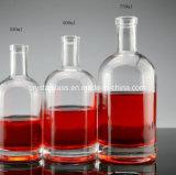 Flaschenglas-Wein-Flaschen-Raum-Glas des Wodka-750ml mit Korken-Oberseite