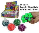 Hot New gracioso Squishy Bola de malla& Squeeze Toy con cordones de juguete bola