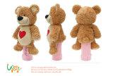Het zachte Stuk speelgoed van de Teddybeer van het Borduurwerk van de Dekking van de Putter van het Golf van de Pluche