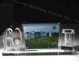 Supporto della penna dei regali di cristallo dell'ufficio ricordo di anniversario del supporto sessanta e dell'orologio e della cardatrice da tavolino di cristallo della Tabella