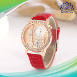 Рекламные женщин дамы подарок Diamond кожаный ремешок кварцевые часы