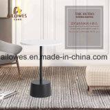 Coffee Shop mobiliário simples em mármore branco em aço inoxidável de ferro preta superior ao redor da mesa lateral de chá
