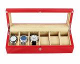 Rectángulo de regalo de madera del almacenaje de la visualización del reloj del final de Matt del color del chocolate del palo de rosa