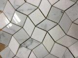 Blanco cristal y Bianco Carrara blanco onda 3D Diseño mosaico de mármol