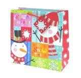Kraft sacs-cadeaux de Noël avec Poignée Torsadée, sacs-cadeaux de Noël avec paillettes et feuilles de timbres, de sac de cadeaux en papier