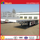 容器のための三車軸60容積トン数40FTの平面のセミトレーラー