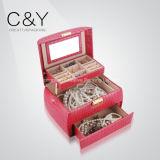أحمر جلد مجوهرات تخزين يعبّئ صندوق