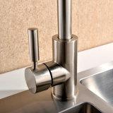 Faucet montado da cozinha do punho do furo do cromo única plataforma de bronze contemporânea