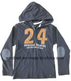 Algodão Hoodies T Shirt for Boy with Number Twill Patch