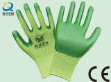 Gants fonctionnants industriels protecteurs de travail enduits par nitriles d'interpréteur de commandes interactif de polyester (N6007)