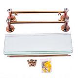 Mensole d'ottone del doppio della stanza da bagno degli articoli sanitari Premium e mensole di vetro della cremagliera