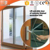 Porta deslizante elogiada elevada do elevador de alumínio da madeira contínua de Clading, grade clara dividida irregular de vidro dobro da porta deslizante