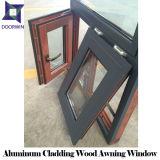 Ventana de madera sólida con el diseño de aluminio del toldo del revestimiento, 3D grano de madera Windows colgado superior de aluminio