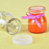 Pot de verre 200ml pour eau / Jus de fruits / Boisson / Bouteille en verre à base de lait avec paille et bouchon à vis