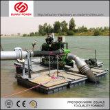 De diesel die Pomp van het Water met Drijvende Haven voor Irrigatie wordt geplaatst